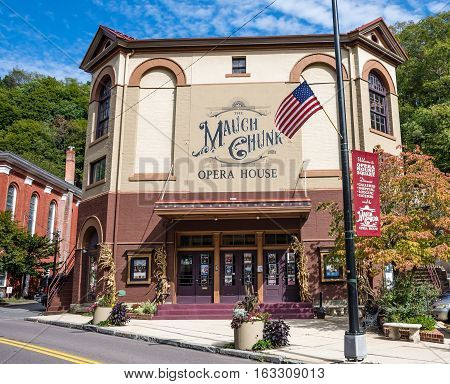 JIM THORPE PENNSYLVANIA - SEPTEMBER 28: The historic Mauch Chunk Opera House on September 28 2016 in Jim Thorpe Pennsylvania.