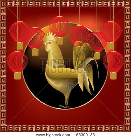 Golden rooster with red lanterns onred background