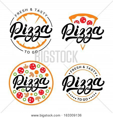 Set of pizza hand written lettering logo, label, badge. Emblem for fast food restaurant, pizzaria, cafe. Isolated on white background. Vector illustration.