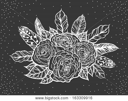 Blackwork tattoo of rose and feathers bouquet. Very detailed vector illustration. Boho design for print, posters, t-shirts. Hand drawn