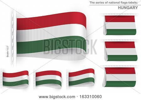 National state flag of Hungary; Sewn clothing label tag; Vector icon set Eps10