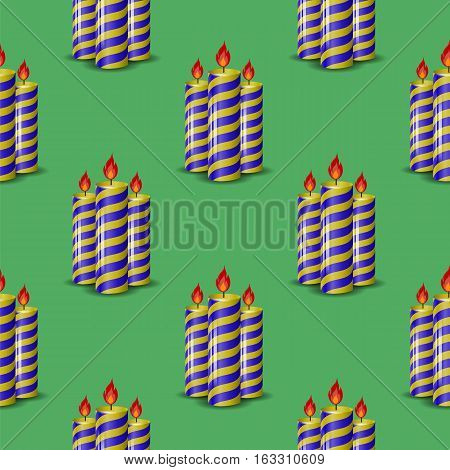 Blue Yellow Wax Candles Seamless Pattern Isolated on Green Background. Burning Candles Set.