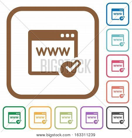 Domain registration simple icons in color rounded square frames on white background