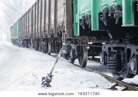 an old hand to switch on the railroad tracks