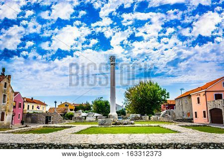 View at old stone roman temple in town Nin, popular historic and cultural site in Croatia, Europe.