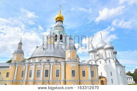 Sophia Cathedral and Resurrection Cathedral in Vologda Kremlin Russia.