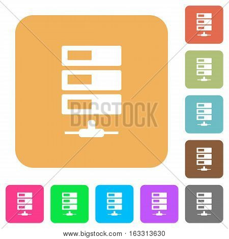Data network icons on rounded square vivid color backgrounds.