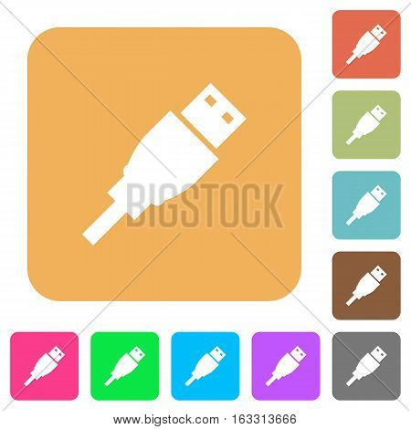 USB plug icons on rounded square vivid color backgrounds.