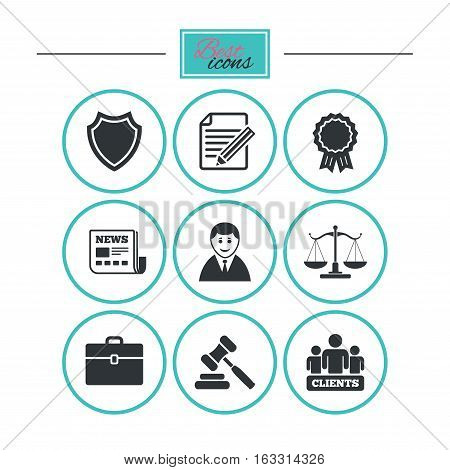 Lawyer, scales of justice icons. Clients, auction hammer and law judge symbols. Newspaper, award and agreement document signs. Round flat buttons with icons. Vector