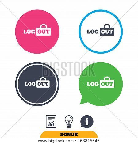 Logout sign icon. Sign out symbol. Lock icon. Report document, information sign and light bulb icons. Vector