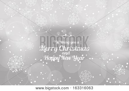 Vector Wishing you a Merry Christmas and Happy New Year abstract light gray background with radiance and snowflakes.