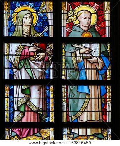 Stained Glass - Thomas Aquinas And Saint Teresa