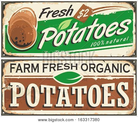 Retro metal signs set with farm fresh potatoes. Vintage vector vegetables illustration.