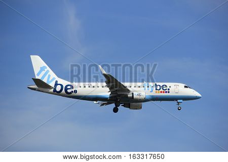 Amsterdam the Netherlands - July 21st 2016: G-FBJF Flybe Embraer ERJ-175STD approaching Polderbaan runway at Schiphol Amsterdam Airport arriving from Birmingham