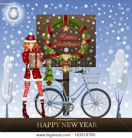 Cute girl in suit Snow Maiden, winter bike, Christmas tree and traditional Christmas greeting - Merry Christmas and Happy New Year. Vector illustration