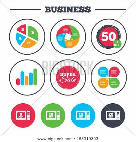 Business pie chart. Growth graph. Microwave oven icons. Cook in electric stove symbols. Heat 9, 10, 15 and 20 minutes signs. Super sale and discount buttons. Vector