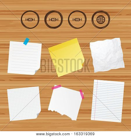 Business paper banners with notes. Mobile telecommunications icons. 3G, 4G and 5G technology symbols. World globe sign. Sticky colorful tape. Vector