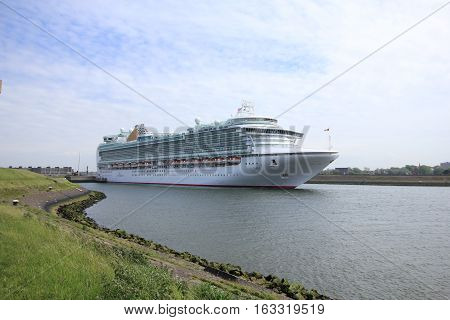 Velsen The Netherlands - May 22 2015: Ventura is a Grand-class cruise ship owned and operated by P&O Cruises built by Fincantieri onfalcone Italy. It is 291.4 m (956 ft) long