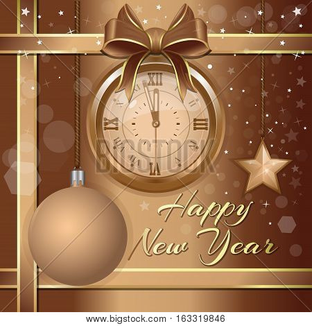 New Year's design. Beige festive background with a gold antique clock, Christmas decorations and congratulatory inscription - Merry Christmas and Happy New Year. Greeting card. Vector illustration