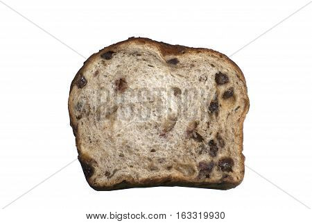 Slice of freshly baked Cinnamon Raisin Bread