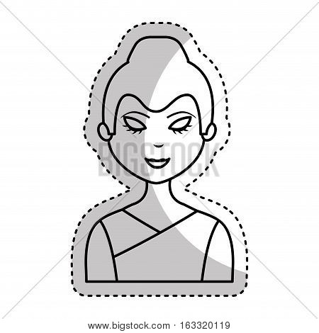 cute geisha character icon vector illustration design
