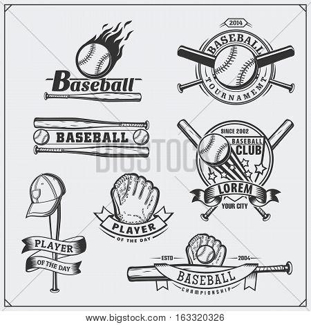 Baseball club emblems, labels and design elements.