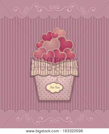 Hearts in basket  made from  texture paper pink lilac pastel colors for congratulation of  Valentine Day or for love confession or for present  or for creative Post Card