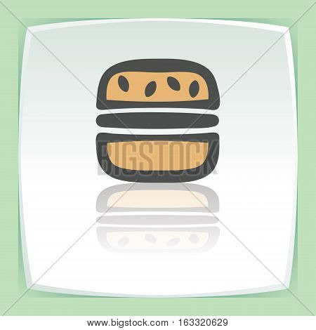 Vector outline hamburger fast food icon on white flat square plate. Elements for mobile concepts and web apps. Modern infographic logo and pictogram.