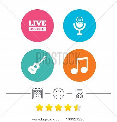 Musical elements icons. Microphone and Live music symbols. Music note and acoustic guitar signs. Calendar, cogwheel and report linear icons. Star vote ranking. Vector