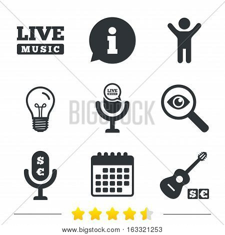 Musical elements icons. Microphone and Live music symbols. Paid music and acoustic guitar signs. Information, light bulb and calendar icons. Investigate magnifier. Vector