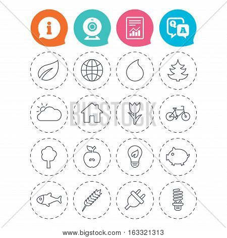Nature and Eco icons. Trees, leaf and tulip or rose flower. Planet and water drop. Energy saving lamp, electric plug and house building. Information, question and answer icons. Vector