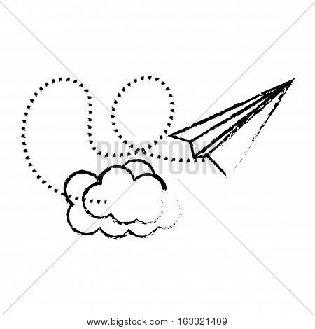paper plane and cloud icon over white background. vector illustration