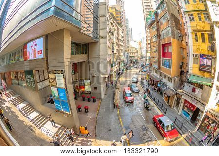 Hong Kong, China - December 4, 2016: aerial and fish-eye view of intersection between Hollywood road and Shelley Street from Central-Mid-Levels Escalator, the world's longest escalator system.