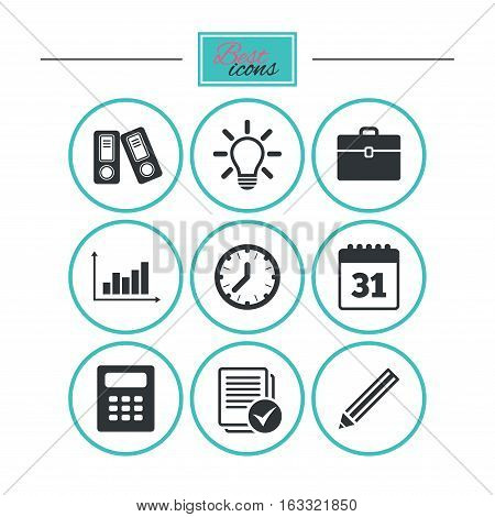 Office, documents and business icons. Accounting, calculator and case signs. Ideas, calendar and statistics symbols. Round flat buttons with icons. Vector