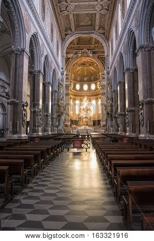 Naples Italy - August 30 2016: Interior of the Cathedral of the Assumption of Mary.