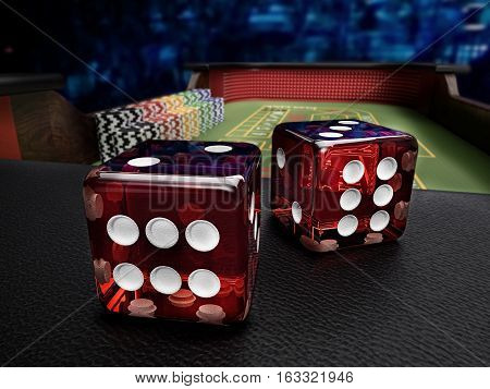 dices before throw on craps table at casino - 3D rendering