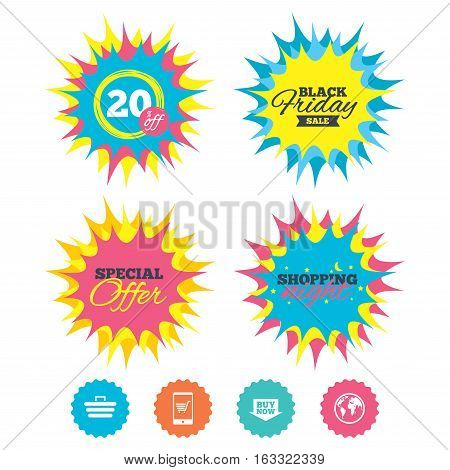 Shopping night, black friday stickers. Online shopping icons. Smartphone, shopping cart, buy now arrow and internet signs. WWW globe symbol. Special offer. Vector