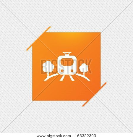 Overground subway sign icon. Metro train symbol. Orange square label on pattern. Vector