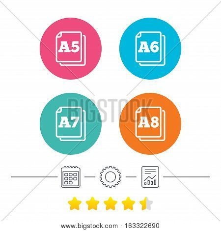 Paper size standard icons. Document symbols. A5, A6, A7 and A8 page signs. Calendar, cogwheel and report linear icons. Star vote ranking. Vector