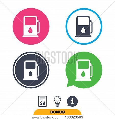 Petrol or Gas station sign icon. Car fuel symbol. Report document, information sign and light bulb icons. Vector