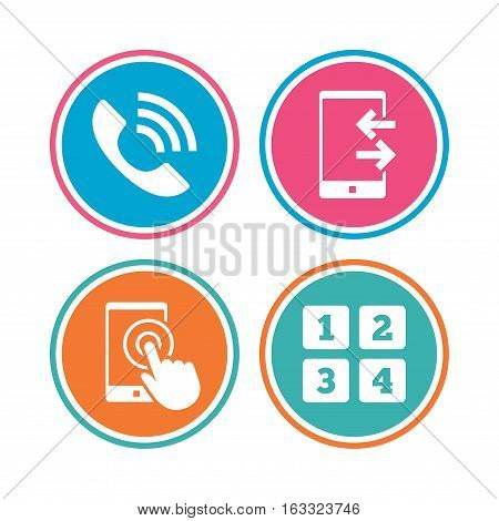 Phone icons. Touch screen smartphone sign. Call center support symbol. Cellphone keyboard symbol. Incoming and outcoming calls. Colored circle buttons. Vector