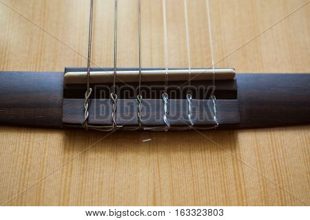 Guitar strings closeup, details of musical instrument