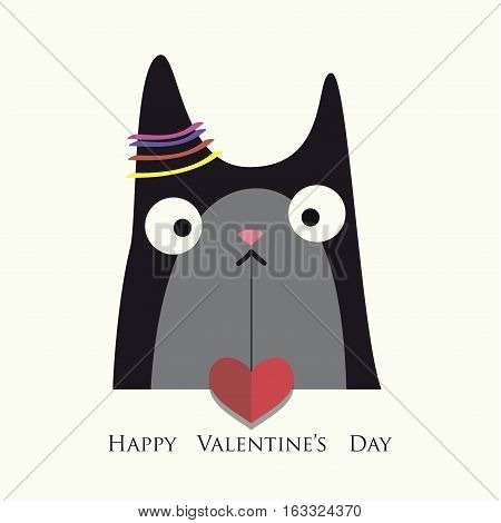 The cover design for Valentine's Day.The cat with red heart on the white background.In the bottom of the image the phrase Happy Valentine's day.