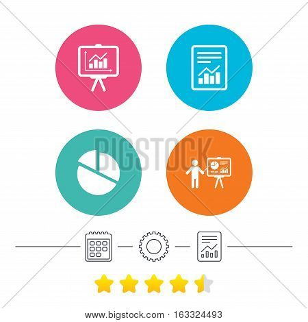 File document with diagram. Pie chart icon. Presentation billboard symbol. Supply and demand. Calendar, cogwheel and report linear icons. Star vote ranking. Vector