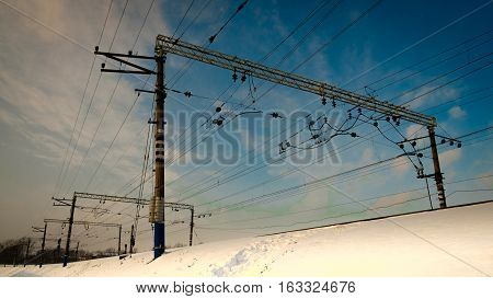 reliance on railroads for the wires on a winter day