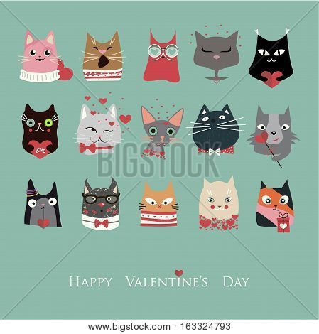 The cover design.Set of the fifteen different cats for the Valentine's day.In the bottom of the image the phrase Happy valentine's day.
