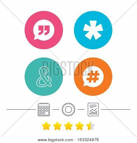 Quote, asterisk footnote icons. Hashtag social media and ampersand symbols. Programming logical operator AND sign. Speech bubble. Calendar, cogwheel and report linear icons. Star vote ranking. Vector