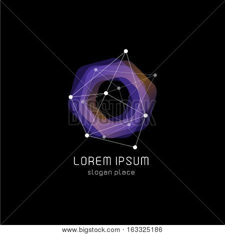 Unusual abstract geometric shapes vector logo. Circular, polygonal colorful logotypes on the black background