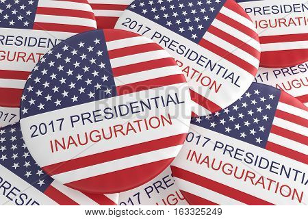 Pile Of US Flag Presidential Inauguration 2017 Badges 3d illustration