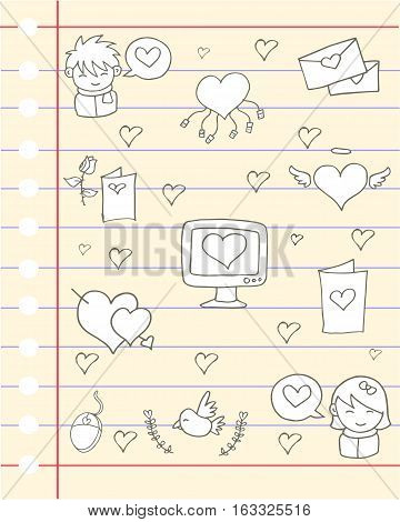 Illustration of love theme paper design collection stock